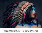 close up portrait of shamanic...   Shutterstock . vector #712759873