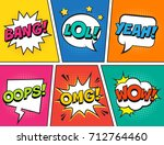 retro comic speech bubbles set... | Shutterstock .eps vector #712764460