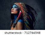 close up portrait of shamanic... | Shutterstock . vector #712766548