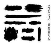 brush strokes set  black hand... | Shutterstock .eps vector #712769158