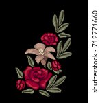 embroidery. bouquet of roses... | Shutterstock .eps vector #712771660