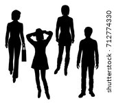 vector silhouettes girls and a... | Shutterstock .eps vector #712774330