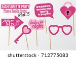 set of printable bachelorette... | Shutterstock .eps vector #712775083