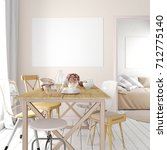 mock up poster in interior with ... | Shutterstock . vector #712775140