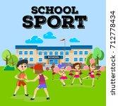 cheerleader dancing in uniform... | Shutterstock .eps vector #712778434