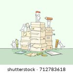 sketch of working little people ... | Shutterstock .eps vector #712783618
