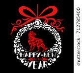 happy new year greeting card.... | Shutterstock .eps vector #712785400