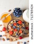 healthy breakfast concept with... | Shutterstock . vector #712785424
