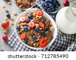 healthy breakfast concept with... | Shutterstock . vector #712785490