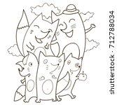 cool hawaii doodle coloring... | Shutterstock .eps vector #712788034