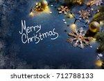 christmas card. branch of...   Shutterstock . vector #712788133