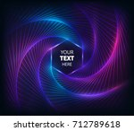 twisted purple neon lines.... | Shutterstock .eps vector #712789618