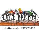 microphones of different mass... | Shutterstock . vector #712790056