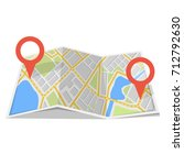 map with gps navigation and... | Shutterstock .eps vector #712792630