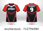 red and black layout football... | Shutterstock .eps vector #712796980