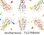 exploding colorful confetti and ... | Shutterstock .eps vector #712798444