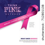 Breast Cancer Awareness Month poster design with pink ribbon | Shutterstock vector #712801138