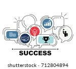 success icons set for business ... | Shutterstock . vector #712804894