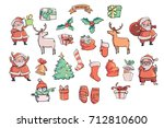 christmas vector set. vector... | Shutterstock .eps vector #712810600