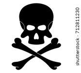 skull and bones. black danger... | Shutterstock .eps vector #712811230