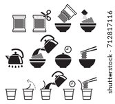 instant noodles icons set.... | Shutterstock .eps vector #712817116