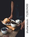 continental breakfast on a tray ... | Shutterstock . vector #712819450