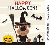 happy halloween  puppy dog in... | Shutterstock .eps vector #712821289