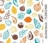 pattern with vector exotic... | Shutterstock .eps vector #712822480