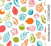 pattern with vector exotic... | Shutterstock .eps vector #712822600