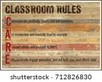 classroom rules wood background ... | Shutterstock . vector #712826830