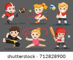 team sports for kids including... | Shutterstock .eps vector #712828900