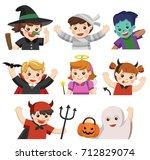set of happy halloween. funny... | Shutterstock .eps vector #712829074