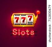neon golden slot machine wins... | Shutterstock .eps vector #712830679