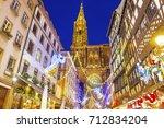 festive christmas illumination... | Shutterstock . vector #712834204