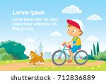 illustration with boy riding a... | Shutterstock .eps vector #712836889