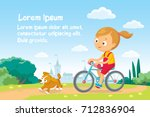 illustration with girl riding a ...   Shutterstock .eps vector #712836904