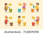 separate sorting garbage.... | Shutterstock .eps vector #712839358