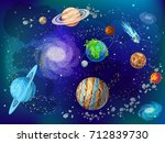 cartoon scientific space... | Shutterstock .eps vector #712839730