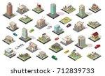 isometric city elements... | Shutterstock .eps vector #712839733