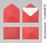 set of blank red color... | Shutterstock .eps vector #712840870