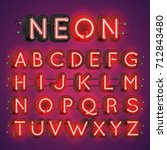 neon alphabet typography with... | Shutterstock .eps vector #712843480