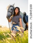 beauty brunette woman with... | Shutterstock . vector #712845100