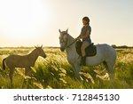 beauty brunette woman with... | Shutterstock . vector #712845130
