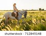 beauty brunette woman with... | Shutterstock . vector #712845148