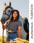 beauty brunette woman with... | Shutterstock . vector #712845154