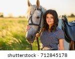 beauty brunette woman with... | Shutterstock . vector #712845178