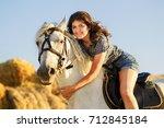 beauty brunette woman with... | Shutterstock . vector #712845184