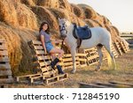 beauty brunette woman with... | Shutterstock . vector #712845190