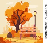 autumn park with bench  coffee  ... | Shutterstock .eps vector #712851778
