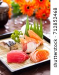 mixed sashimi set  japanese food | Shutterstock . vector #712852468